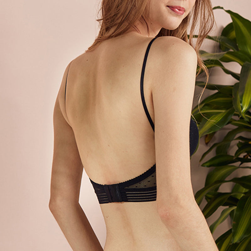 Gathering Backless Lace-U-Back Bra Without Steel Ring