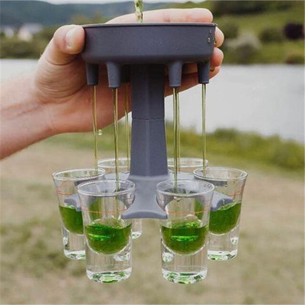 6 Shot Glass Dispenser And Holder/carrier Caddy Liquor Dispenser Party Gifts Drinking Games Shot Glasses