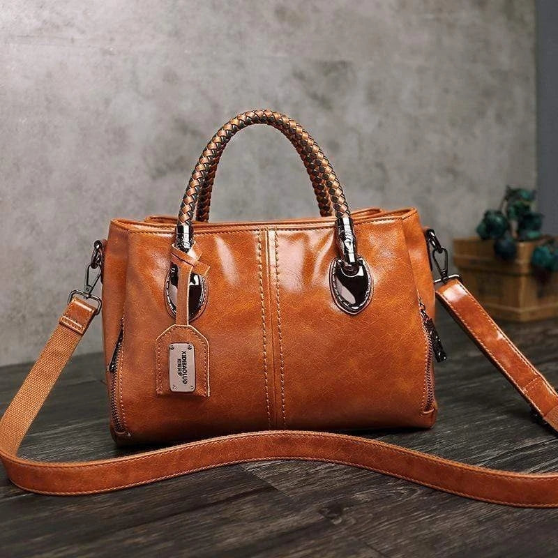 Women Classical Multi Pocket Leather Tote Handbag Work Shoulder Bag