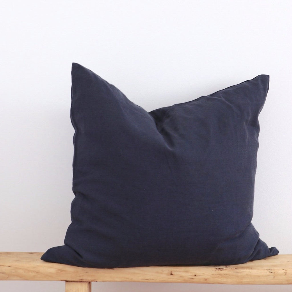 PRE-ORDER European Linen Cushion - Charcoal