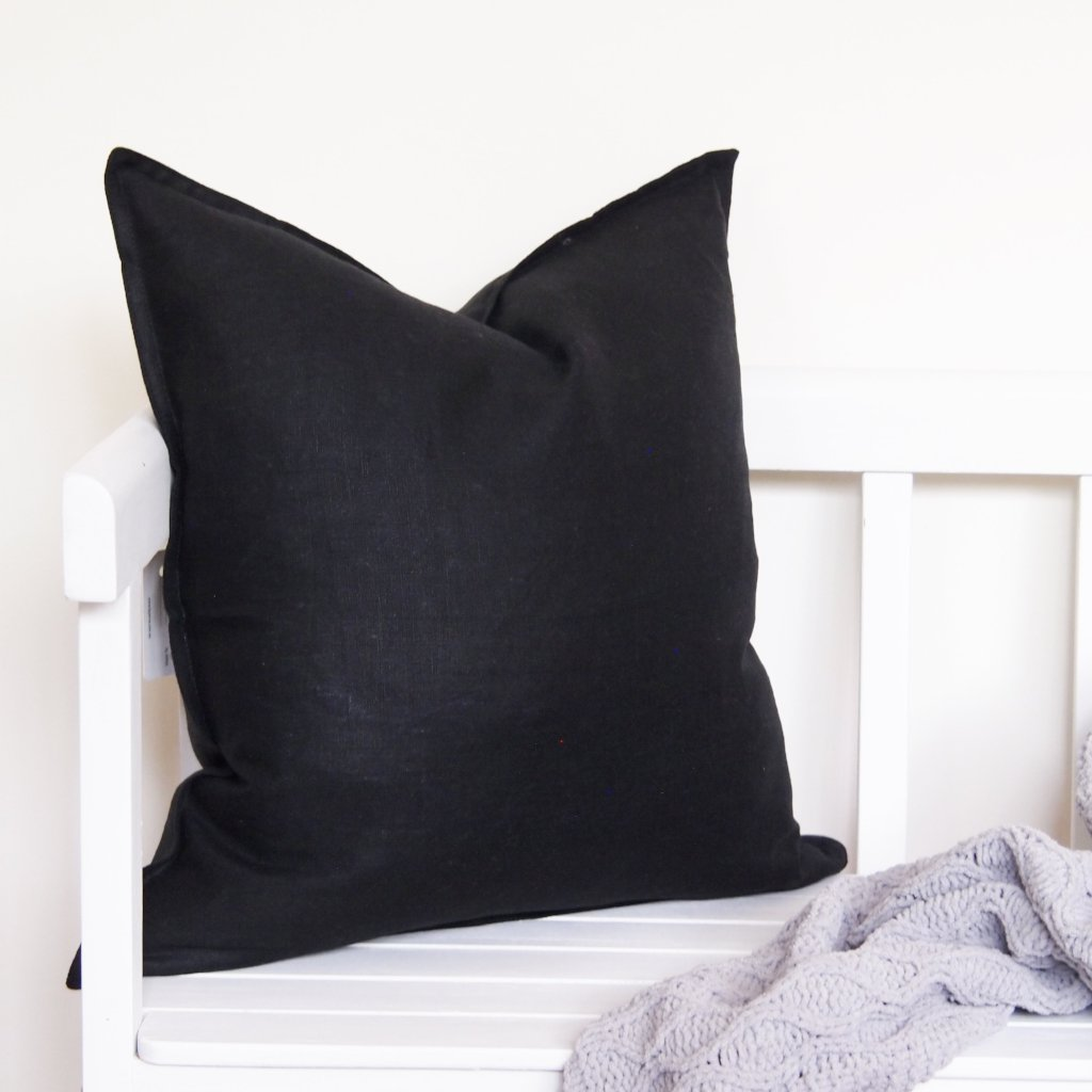 Linen Cushion - Black