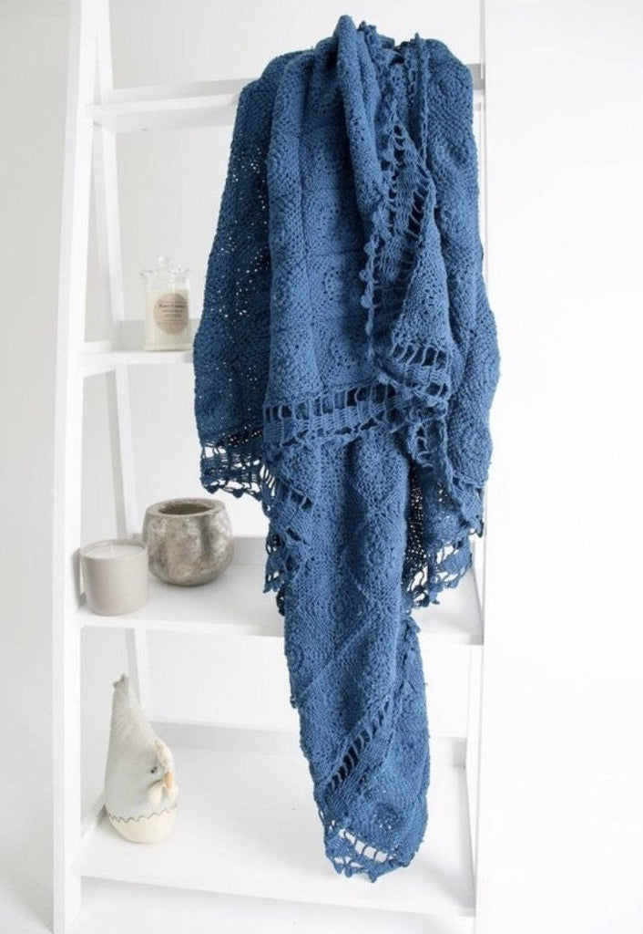 Crochet Throw - Navy