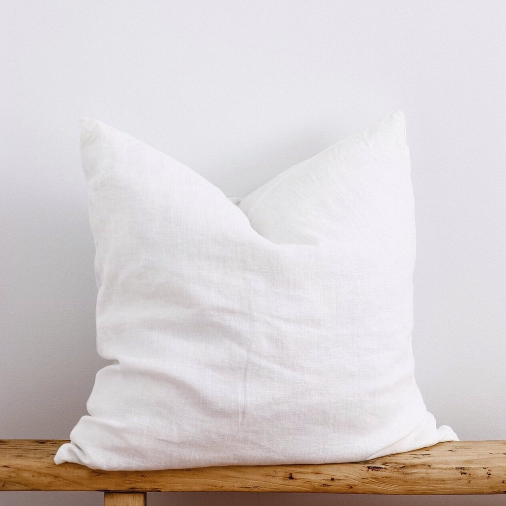 European Linen Cushion - White