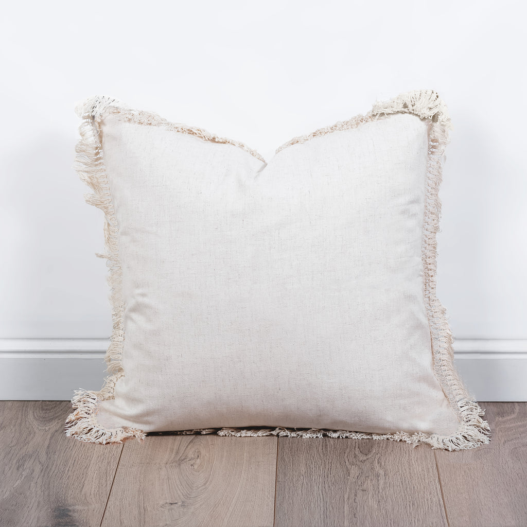 Beige Fringe Cushion
