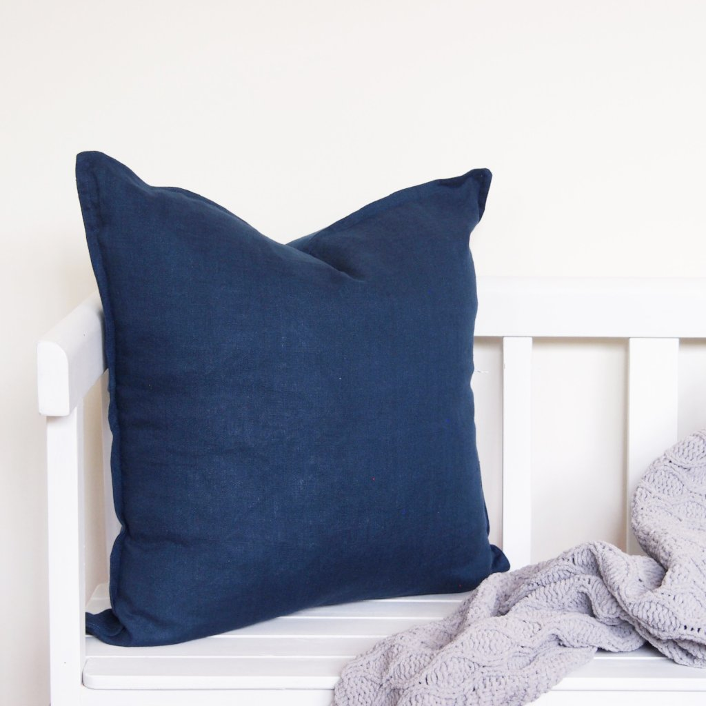 Linen Cushion - Navy