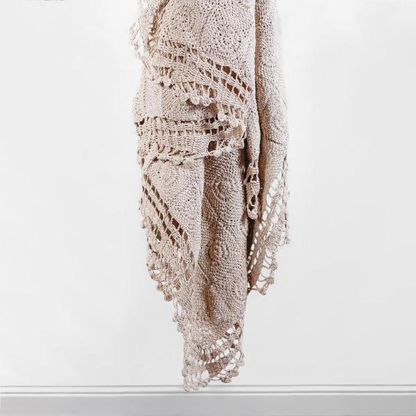 Beige Crochet Throw