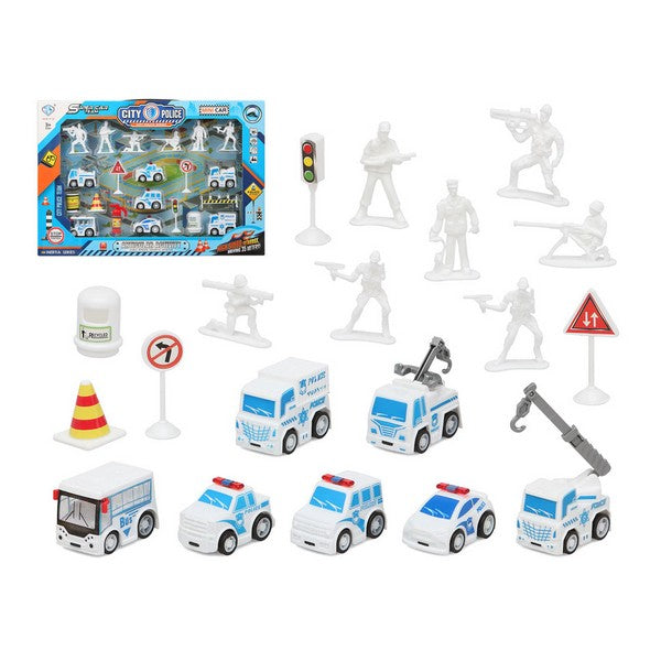 Police Vehicles and Accessories Set White 111155