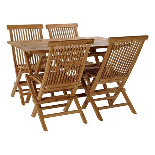 Table set with 4 chairs DKD Home Decor Teak (5 pcs)