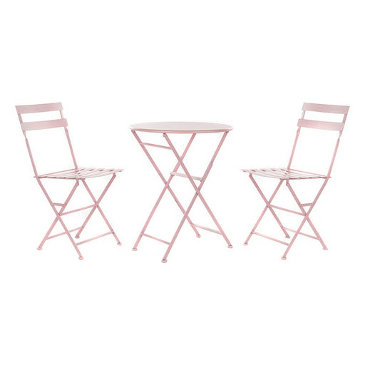 Table set with 2 chairs DKD Home Decor Pink Metal (3 pcs)