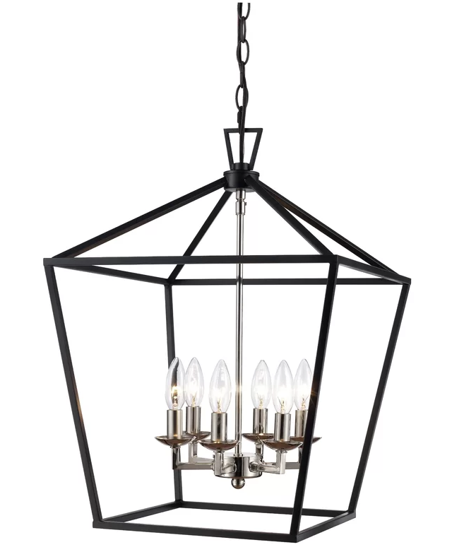 Carmen 6 Light Lantern Geometric Chandelier Black Chrome Wichita Home Decor Outlet