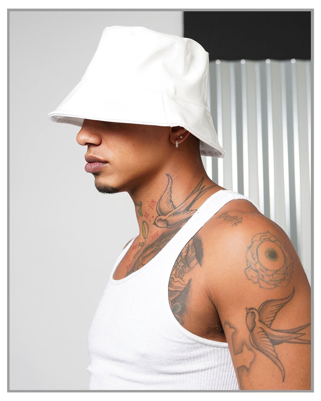 White Faux Leather Bucket Hat - truthBlack