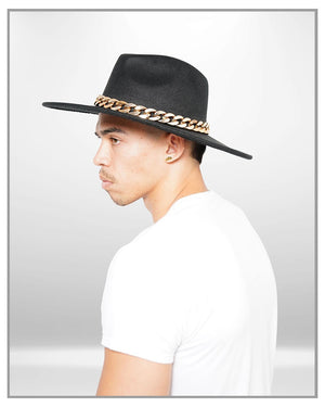 Black Fedora Hat with Chains - truthBlack