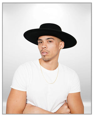 Black Wide Brim Fedora Hat - truthBlack