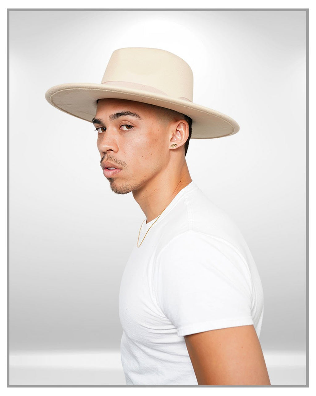 Cream Wide Brim Fedora Hat - truthBlack