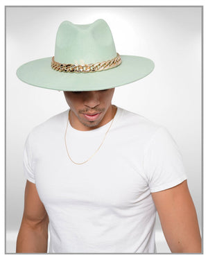 Green Fedora Hat with Chains - truthBlack