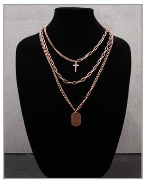 Guns & Roses | Layered Necklace - Rose Gold - truthBlack