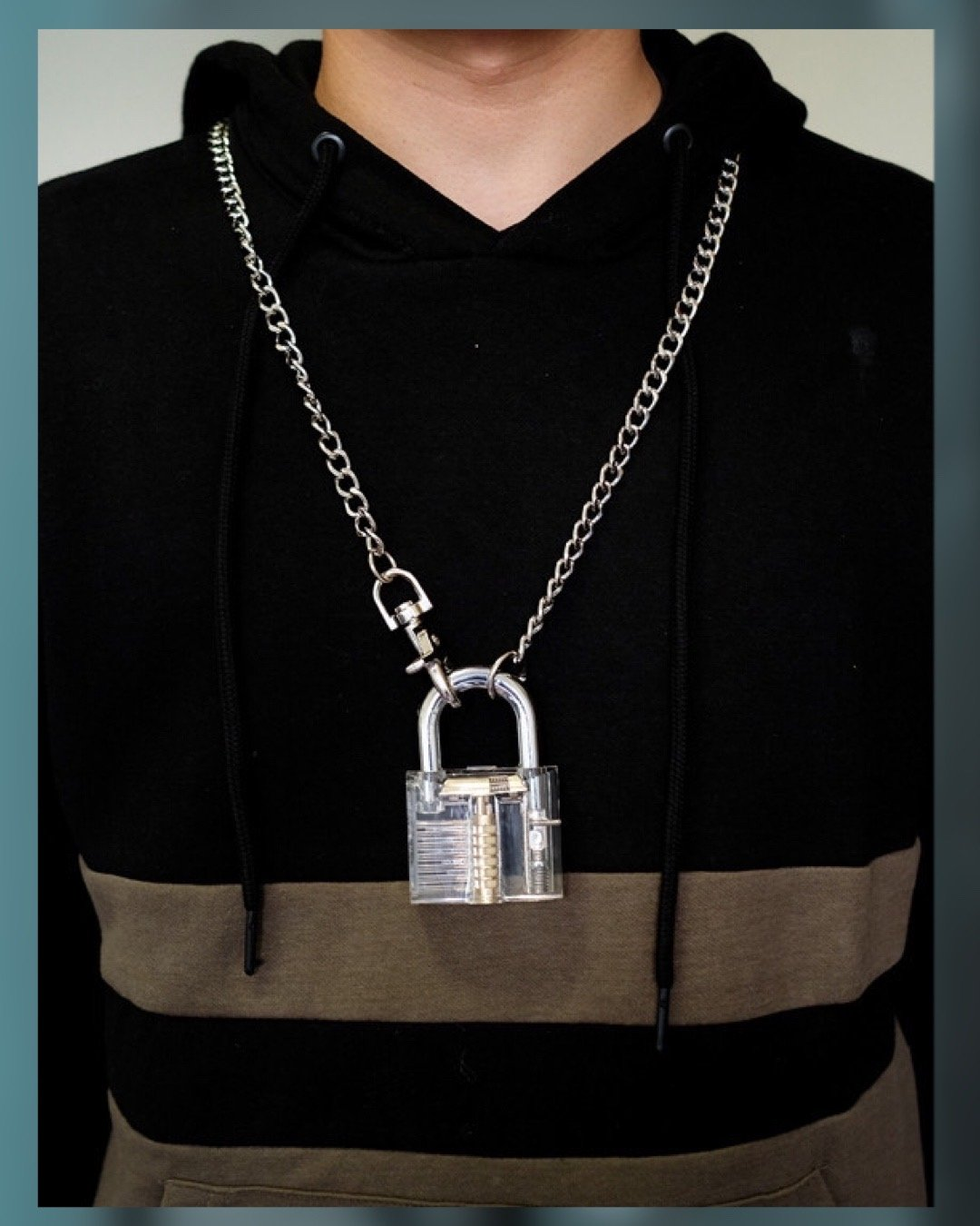 Lock Down - Acrylic & Gold Necklace - truthBlack