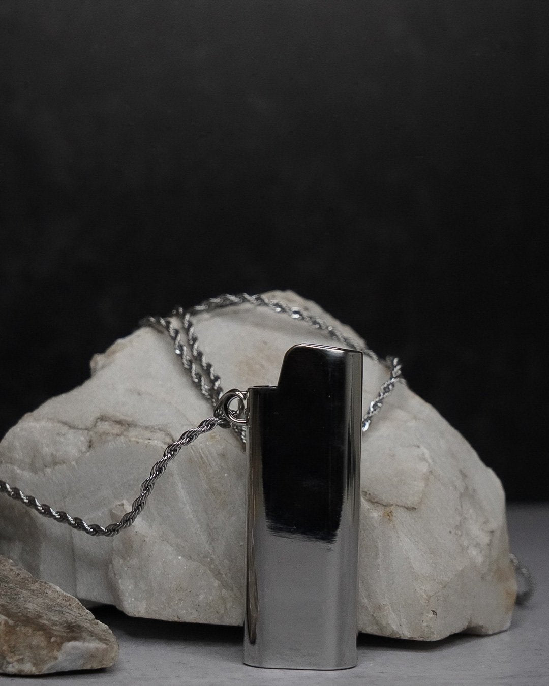 Light Em Up! |  Necklace & Lighter Case - Silver - truthBlack