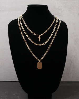 Guns & Roses | Layered Necklace - Gold - truthBlack