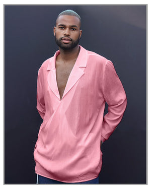 Limited Edition - Pink Wrap Style Shirt - truthBlack
