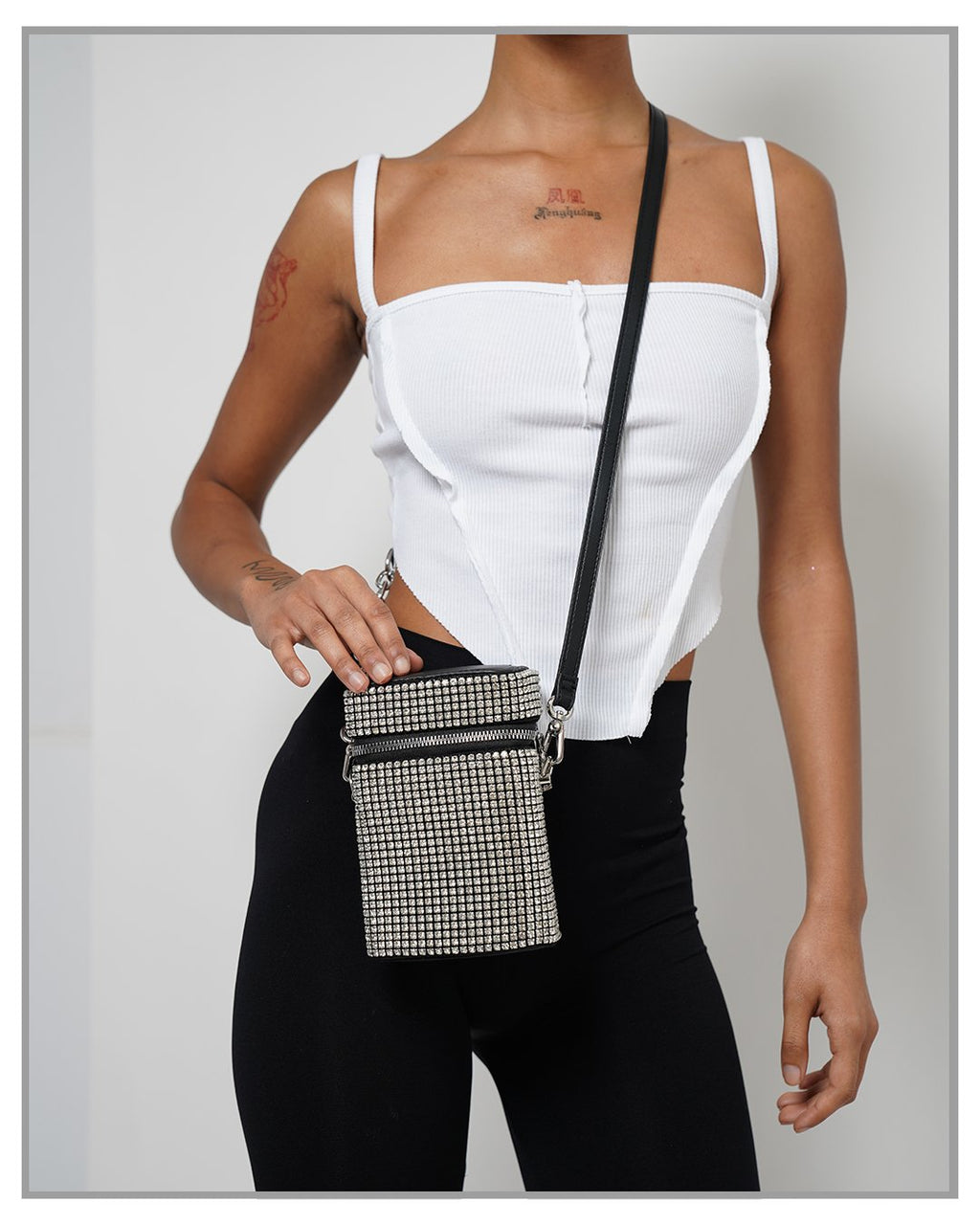 Icon Rhinestone Pave Rectangular Crossbody Bag - truthBlack