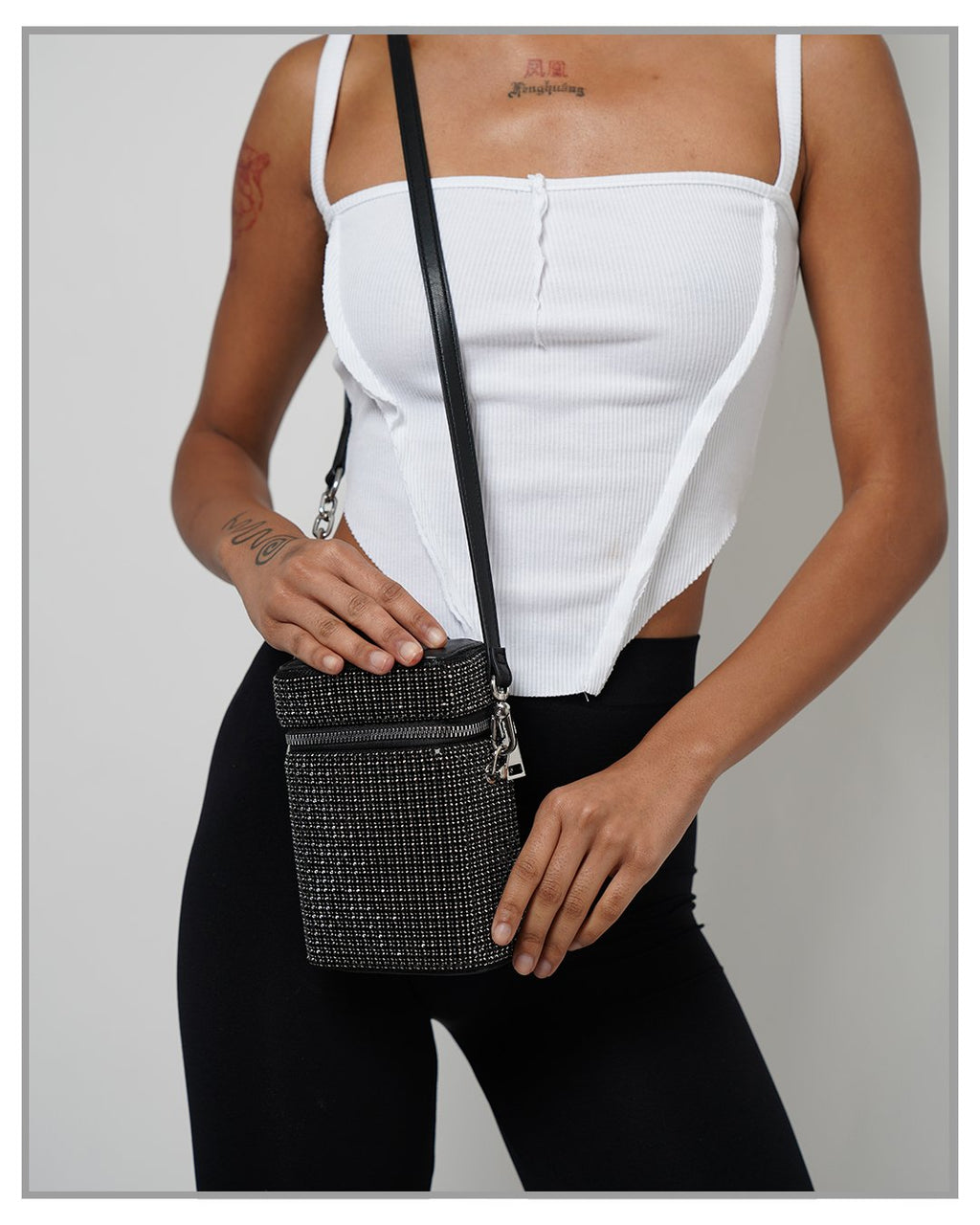 Icon Black Rhinestone Pave Rectangular Crossbody Bag - truthBlack