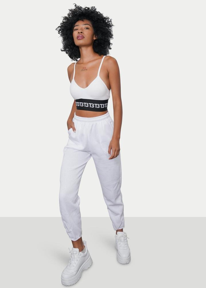 White Logo Sports Bra & Sweatpants Set - truthBlack
