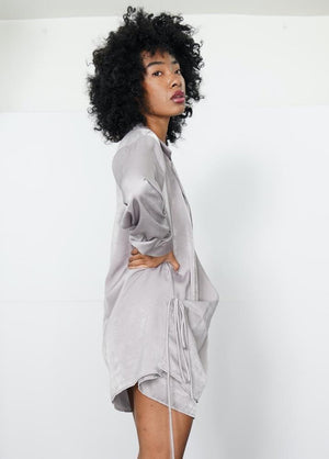Women's Urban Commuter - Oversize Pewter Wrap Style Shirt - truthBlack