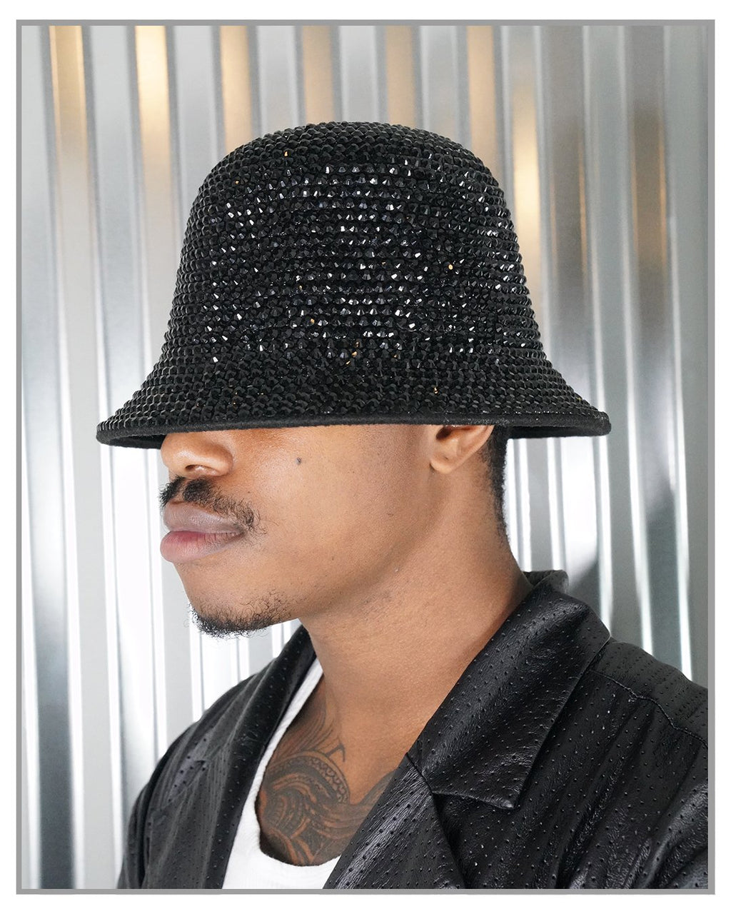 Black Swarovski Crystal Bucket Hat - truthBlack