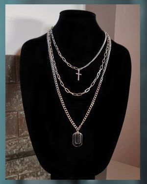 Guns & Roses |  Layered Necklace - Silver - truthBlack