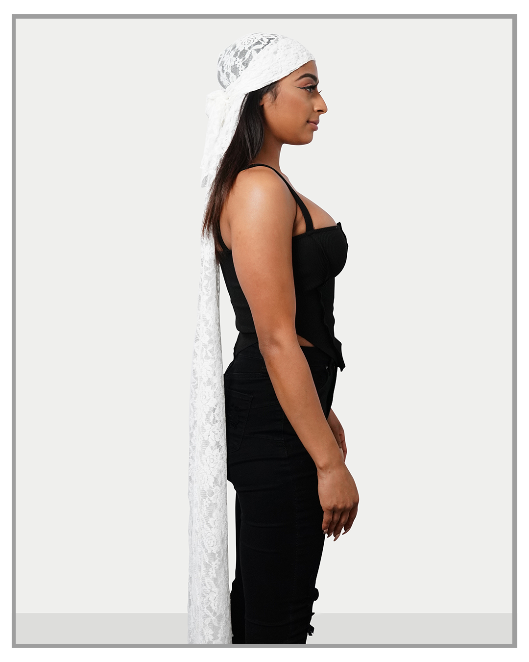 Long Lace White Durag - truthBlack