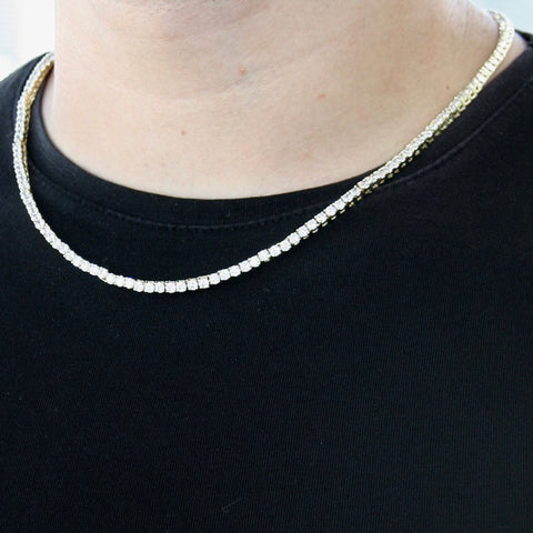 3mm Goldplated Lab Diamanten Tennis Ketting