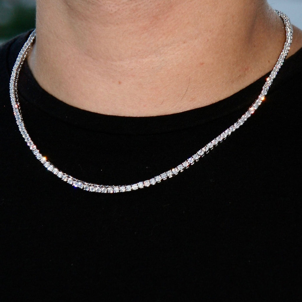 3mm Silverplated Lab Diamanten Tennis Ketting