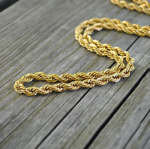 Image of 4mm Goldplated Dookie Rope Ketting - ICED OUT