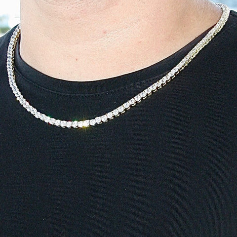 4mm Goldplated Lab Diamanten Tennis Ketting
