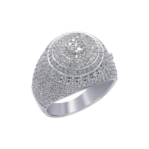 .925 Zilveren Ronde Iced Out Ring