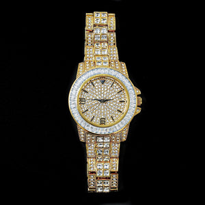 Goldplated Iced Out GMT Baguette horloge