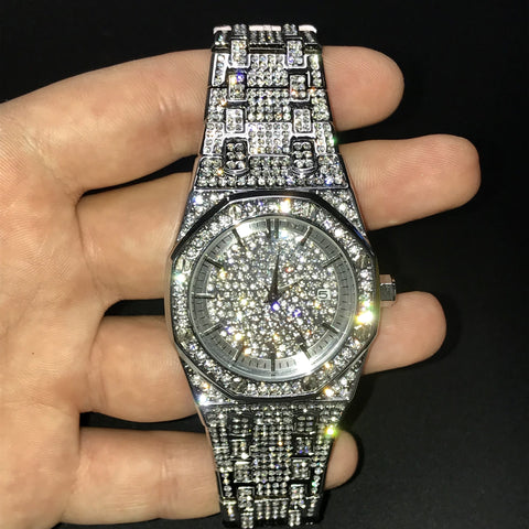 Silverplated Iced Out Royal Watch