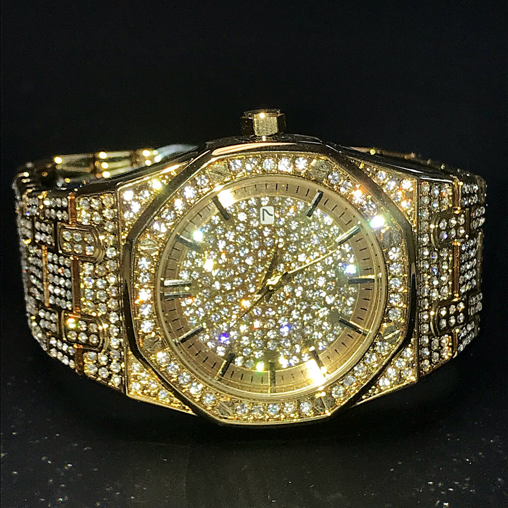 Goldplated Iced Out Royal Watch