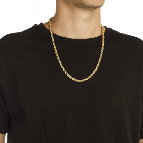 4mm Goldplated Dookie Rope Ketting - ICED OUT
