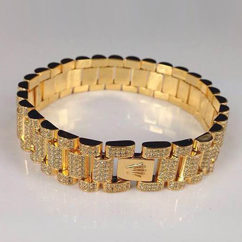Goldplated Premium Iced Rollie Armband