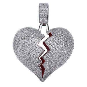 Silverplated Gebroken Hart Hanger - ICED OUT