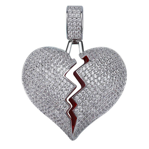 Image of Silverplated Gebroken Hart Hanger - ICED OUT