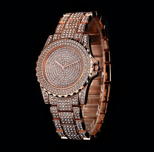 43MM Rose Big Face Iced Out Horloge