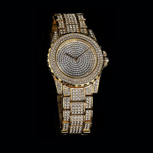 Goldplated 43MM Big Face Iced Out Horloge