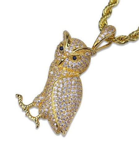 Goldplated Iced Out Uil Ketting