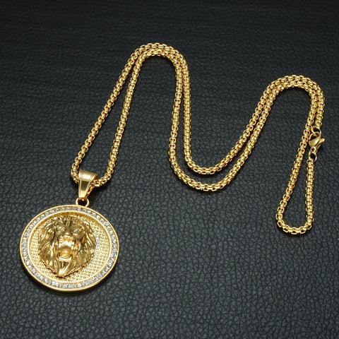 Image of Goldplated Leeuwenkop Medallion Hanger