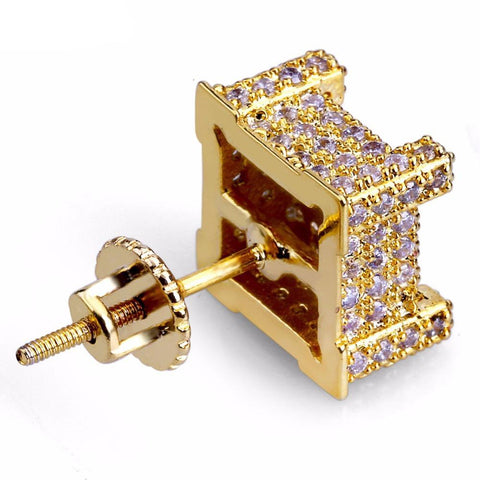 Image of 360 Goldplated Kubus Oorbellen - ICED OUT
