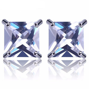 8mm Silveplated Princess Cut Oorbellen - ICED OUT
