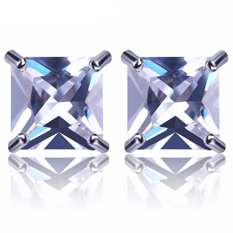 Image of 8mm Silveplated Princess Cut Oorbellen - ICED OUT